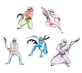 Set of ninjas — Stockvektor
