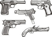 Set of old pistols — Stock Vector