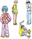 Quatre garçons d'adolescent — Vecteur