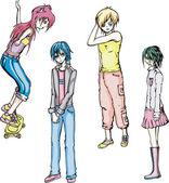 Vier teenager-mädchen — Stockvektor