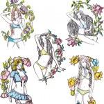 Elegant girls in flowers — Stock Vector #20495423