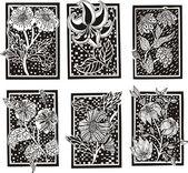 Floral rechthoek patronen — Stockvector