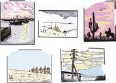 Miscellaneous landscapes — Stock Vector