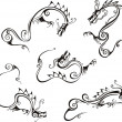 Stylistic dragon tattoos - Imagen vectorial