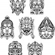 Hindu deity masks — Stock Vector