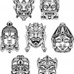 Постер, плакат: Hindu deity masks