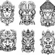 Stock Vector: Hindu deity masks