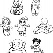 Stock Vector: Sketches of babies