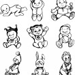 Sketches of babies — Stock Vector #23164084