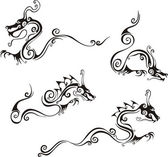 Stylistic dragon tattoos — Stock Vector