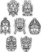 Hindu deity masks — Stock Vector