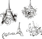 Sketches with Eiffel Tower — Stock Vector