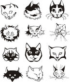 Set of outline cat heads — Stock Vector