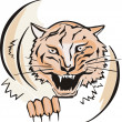 Round sketch of tiger head — Stock Vector