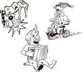 Tre divertenti clown — Vettoriale Stock