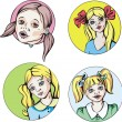 Round portraits of young cute girls with pigtails — Stock Vector