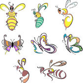 Stylized bees, wasps and butterflies — Stock Vector