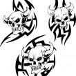 Stock Vector: Devil Skulls