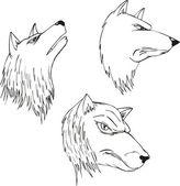 Cabezas de lobo agresivo — Vector de stock