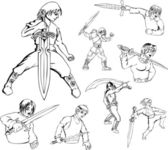 Anime warriors with swords — Stock Vector