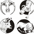 Round designs with bulls — Stock Vector