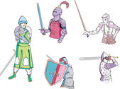 Set of knights with swords — Stock Vector