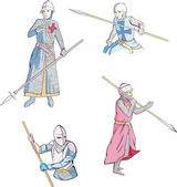 Set of knights with spears — Vector de stock
