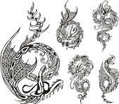 Стилизованный дракон татуировки — Cтоковый вектор
