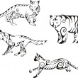 Stock vektor: Predator animals in tribal style