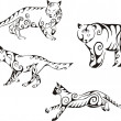 Vettoriale Stock : Predator animals in tribal style