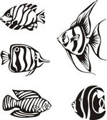 Set of black and white tropical fish — Stock Vector