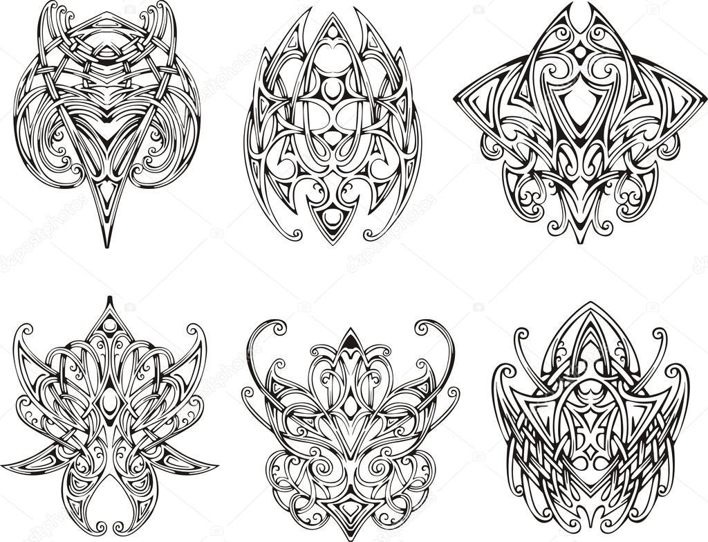 symmetrische knoten tattoo motive stockvektor rorius 42846113. Black Bedroom Furniture Sets. Home Design Ideas
