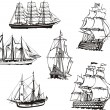 Sketches of sailing boats — Stock Vector