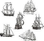Sketches of sailing ships — Stockvektor