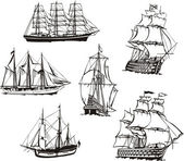 Sketches of sailing boats — Stockvector