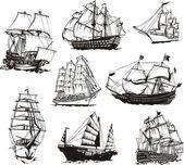 Sketches of sailing ships — Stock Vector