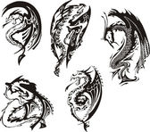 Set of black and white dragons — Stock Vector