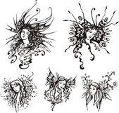 Exquisite fantasy girls — Stock Vector