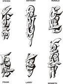 Stylized male names — Vecteur