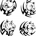 Predator animal head tattoos — Stock Vector #43525231