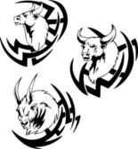 Bull head tattoo — Vector de stock