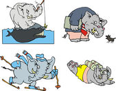 Comic elephants — Stock Vector