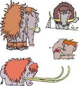 Cute funny mammoth cartoons — Stock Vector