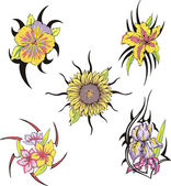 Set of tribal flower tattoos — Stock Vector