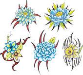 голубой цветок племенной татуировки — Cтоковый вектор