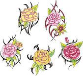 设置的部落的玫瑰花朵纹身 — 图库矢量图片