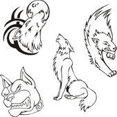 Tattoos - wolves and dog — ストックベクタ