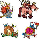Comic viking warriors — Stock Vector