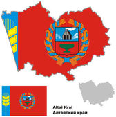 Outline map of Altai krai with flag — Stock Vector