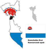 Outline map of Kamchatka krai with flag — Stock Vector